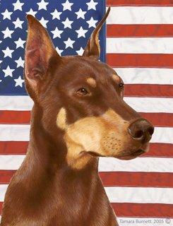 Doberman Pinscher Ears - Doberman Pinscher (Cropped Ears, Red): Indoor/Outdoor House Flag (Patriotic I...