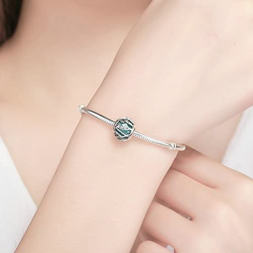 Soulove Nature Green Clear CZ 925 Sterling Silver Bead for Snake Chain Charm Bracelet