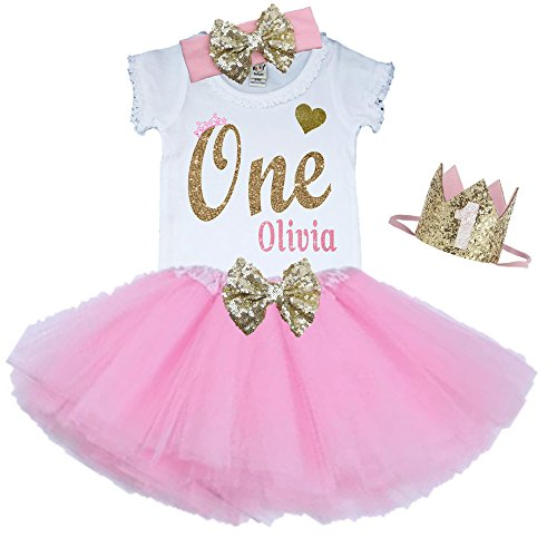 Bella Fashion Kidz Girl First Birthday Tutu Outfit Pink and Gold Personalized 1st Glitter Dress Set (18 Month, 3 Piece Set)