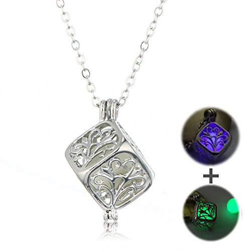 Green Purple Pendant (Hollow Tree of Life Cube Glow in the Dark Pendant Necklace,Green Purple Package N3002-2)