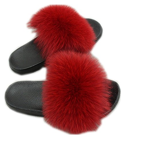 Women Real Fox Fur Feather Vegan Leather Open Toe Single Strap Slip On Sandals Multicolor (7, Wine red)