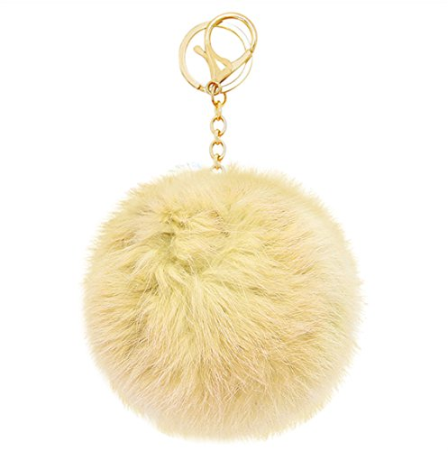 Rosemarie Collections Women's Fur Pom Pom Handbag Charm (Neiman Marcus Luggage)