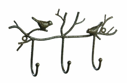 Metal Twig and Bird Wall Hooks