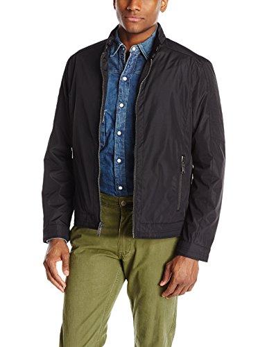 Andrew Marc Men's City Rain Tech Moto Jacket, Black, Medium