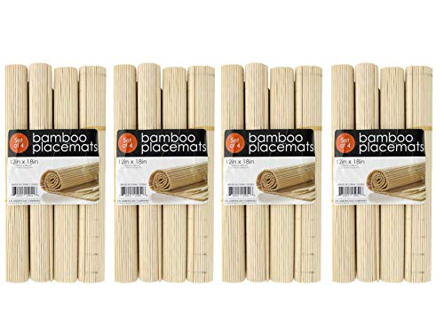 Black Duck Brand Roll-Up Natural Bamboo Placemats Set (16 Bamboo Placemats)