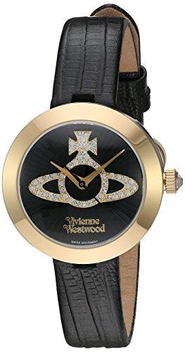 (Vivienne Westwood Quartz Stainless Steel and Leather Watch, Color:Black (Model: VV150GDBK))