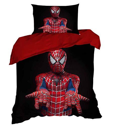 wellstil Spiderman Kid's Duvet Cover Set%100 Cotton Single Twin Size Kid's 3D Duvet Quilt Cover Set Spiderman Themed Kid's Bedding 2 Pcs NOT Comforter (Sets Duvet Cover Canada)