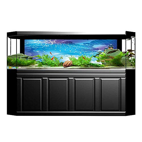 Fish Tank Background Decor Static Image Backdrop Wallpaper Sticker Cling Decals Sun Rays on Horoscope Plan with Made Globe Earth Cosmos Art Blue Wallpaper Sticker Background Decoration L29.5