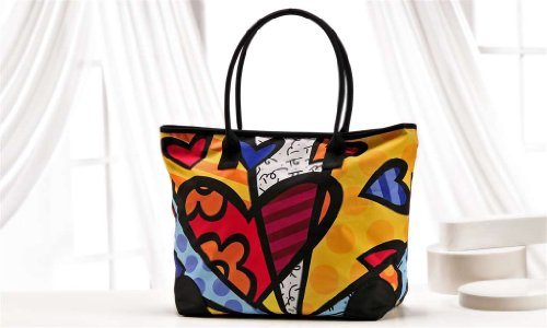 Giftcraft Romero Britto Satin Tote Heart Pattern a New Day