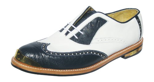 Bari Gold toe Golf Shoes By Vecci ,Navy faux lizard Wing tip,white uppers,13C(M) - Lizard Wingtip