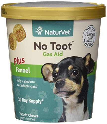 NaturVet - No Toot Gas Aid For Dogs Plus Fennel - 70 Soft Chews - Alleviates Intestinal Gas - Helps Reduce Stool & Urine Odors - 30 Day Supply