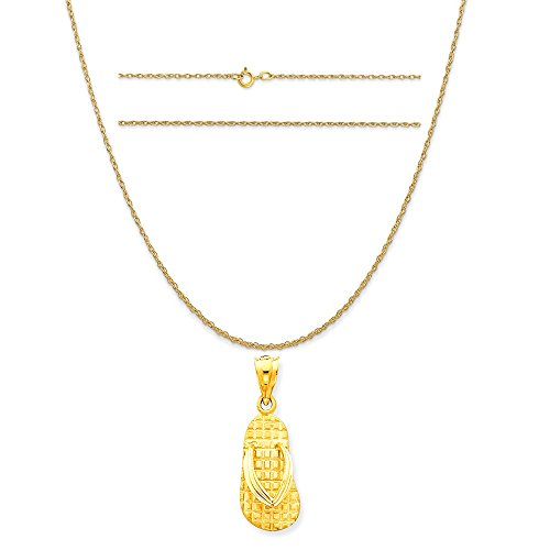 14k Gold Sandal Pendant (14k Yellow Gold Solid Polished Sandals Pendant on a 14K Yellow Gold Carded Rope Chain Necklace, 18