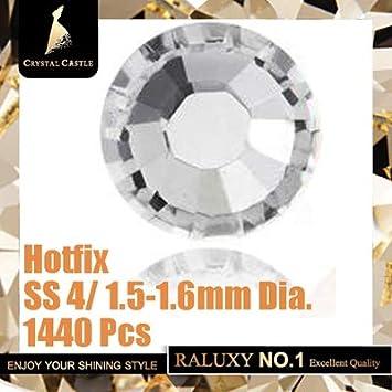 Amazon.com  Hotfix Rhinestones For Clothes 5A Best Shiny Hot Fix Strass  Hotfix Clear White Stones And Crystals Rhinestone DIY SS4 1440Pcs  Beauty dc1f0d26993d