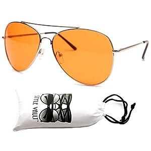 A67-vp Aviator Pilot Colored Lens Metal Sunglasses (AVCO Silver-orange, UV400)
