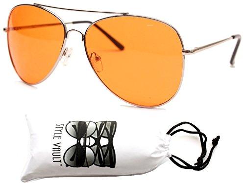 A67-vp Aviator Pilot Colored Lens Metal Sunglasses (AVCO Silver-orange, - Sunglasses Men Orange