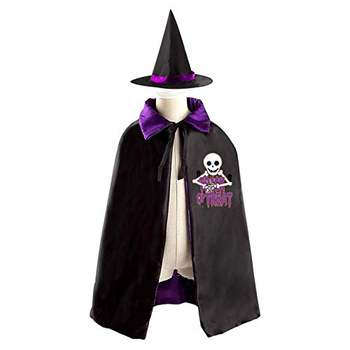 69PF-1 Halloween Cape Matching Witch Hat Funny Skull Skeleton Wizard Cloak Masquerade Cosplay Custume Robe Kids/Boy/Girl Gift Purple -