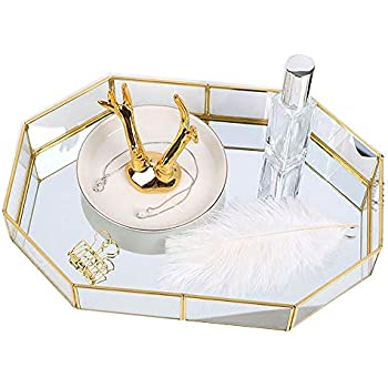 Yokay Mirror Gold Tray,Large Perfume Glass Tray Metal Makeup Decorative Tray Rectangle Mirrored Jewelry Tray Organizer for Vanity,Bathroom,Dressing Table(Polygon(Large))