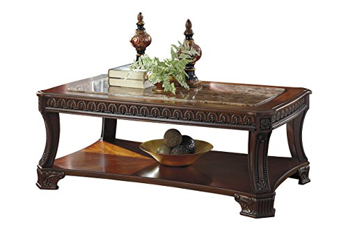 Ashley Furniture Signature Design - Ledelle Coffee Table - Cocktail Height - Rectangular - Brown with Faux Marble Top