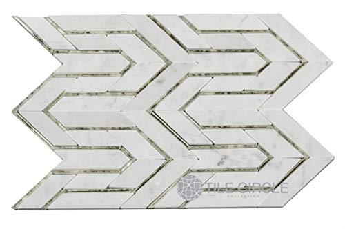 Carrara & Antique Mirror Waterjet Tile 8.19