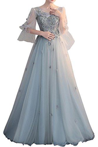 Abendkleider Ivydressing Lang Aermel mit langer Schnuerung Ausschnitt Rueckfrei Promkleider V Damen Partykleider Ballkleider Schleppe Spitze Tuell Elegant xHrSYAqH