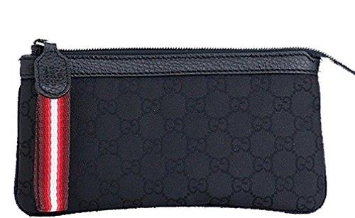 Gucci 339557 Gucci Black Nylon and Leather Gg Logo Web Cosmetic Case