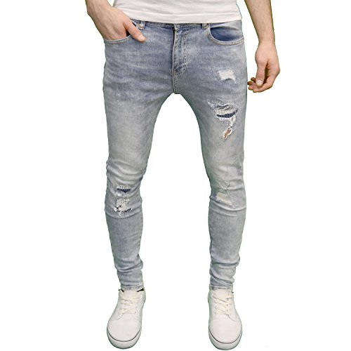 Enzo Mens Designer Branded Ripped Skinny Acid Wash Jeans (40W x 32L, Light Stonewash)