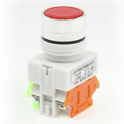 eDealMax Y090-11BN AC 660V 10 Amp 1 NA 1 NC DPST 4 Terminal de enclavamiento del interruptor del empuje del botón - - Amazon.com