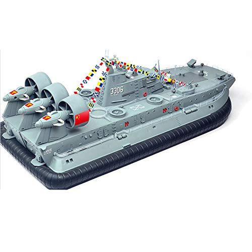Brushless Warship RC Boat 2.4G 1/110 Ship Model HG-C201 Landing and Water Air Cushion Landing Craft - Light Grey