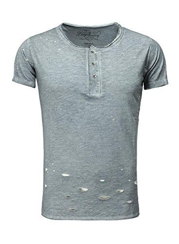 Key Largo Herren T-Shirt CLEMENS mit Knopfleiste Destroyed Look Vintage verwaschen blau XXL