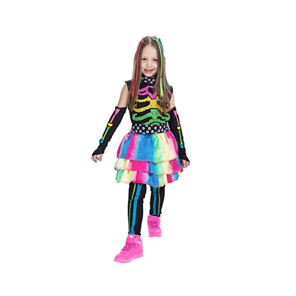 Funky Punky Bones Colorful Skeleton Deluxe Girls Costume Set with Hair Extensions for Halloween Costume Dress Up Parties. 6