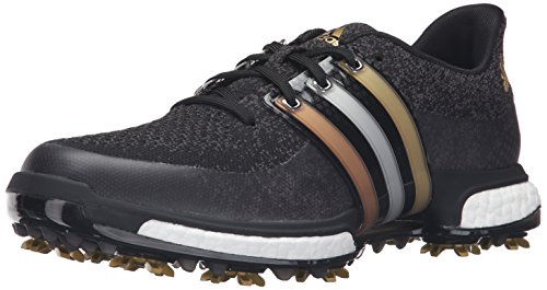 adidas Men's TOUR360 Prime Boost Golf Shoe, Gold Metallic/Core Black, 9.5 M US