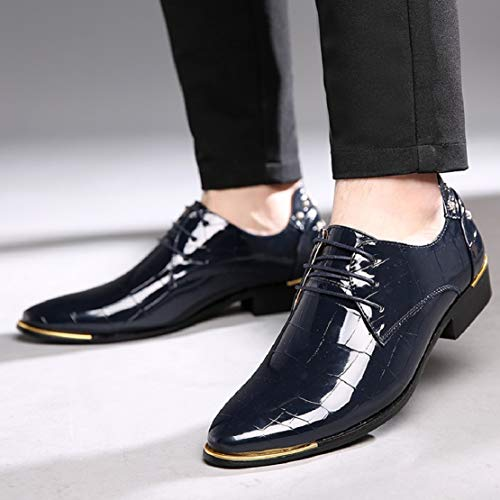 Men Patent Leather Lace up Wingtip Dress Shoes Pointed Toe Oxford Dress Tuxedo Shoes by Lowprofile Blue