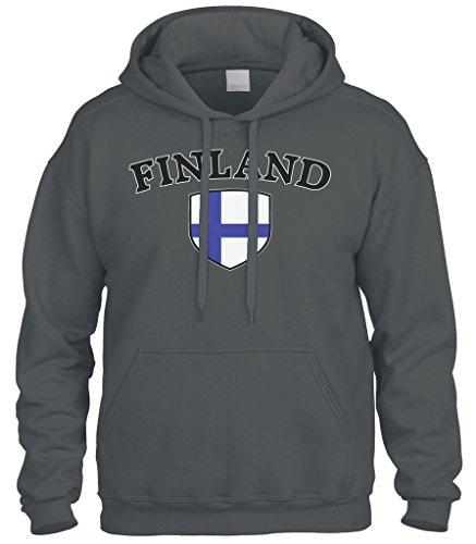 Cybertela Finland Flag Crest Shield Sweatshirt Hoodie Hoody (Charcoal, Medium)