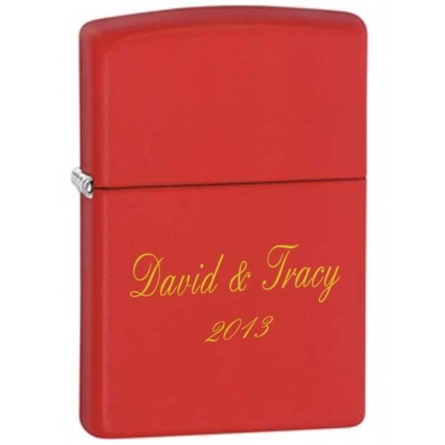 Price comparison product image Personalized Matt Red Zippo Lighter - Fee Laser Engraving