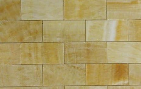 2x4 Brick Pattern Honey Onyx Polished Mosaics Meshed on 12 X 12
