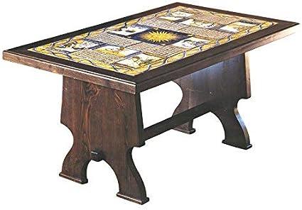 Mesa rectangular de madera y azulejos de cerámica ARTÍSTICA de Castelli decorada a mano – Mesa de centro, de jardín, de cocina – Código color TC-01 Colección Color Arte de muebles –