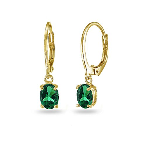 LOVVE Yellow Gold Flashed Sterling Silver Created Emerald 7x5mm Oval Dangle Leverback Earrings