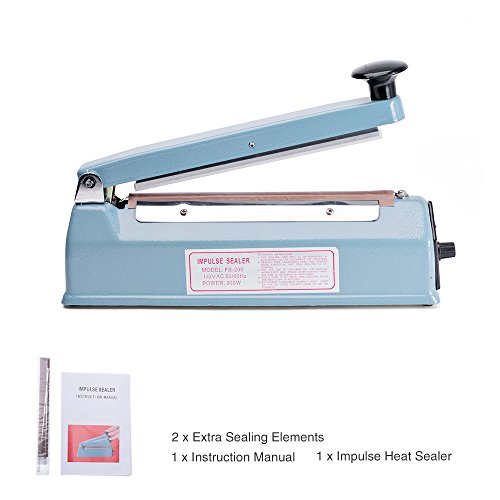 Metronic Impulse Bag Sealer Poly Bag Sealing Machine Heat Seal Closer with Repair Kit (8 inch)