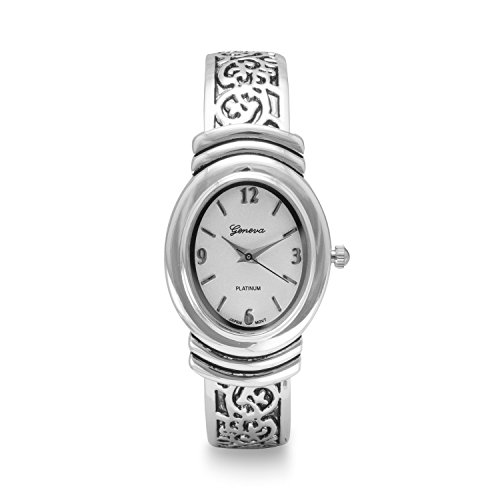 Geneva Women's Oxidized Scroll Design Hinged & White Dial Fashion Cuff Watch (Watch Ornate Cuff Fashion)