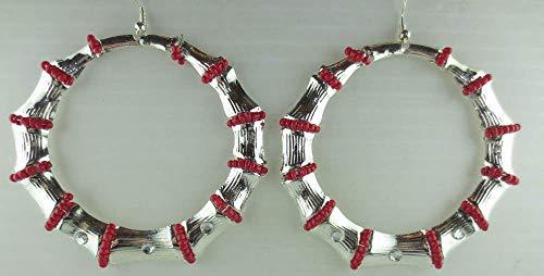 Dangling Silvertone Red Glass Bead Rhinestone Bamboo Design Hoop LG Earrings ()
