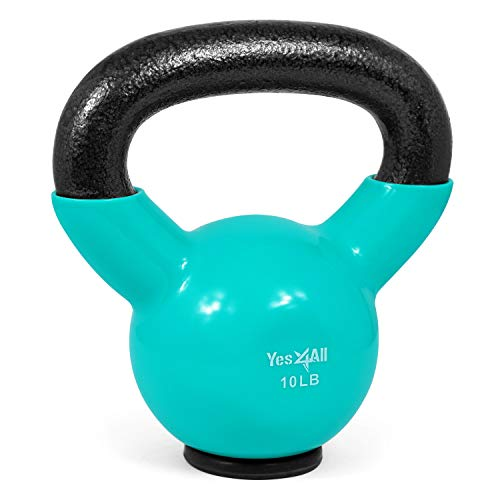 Yes4All Vinyl Coated Kettlebells With Protective Rubber Base – Weight Available: 5, 10, 15, 20, 25, 30, 35, 40, 45, 50…