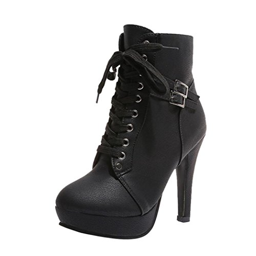 2018 Womens Girls Ankle Bootie 5.5-9.5,Leather Wedges High Heel Lace-up Round Toe Boots (Black, US:8.5)