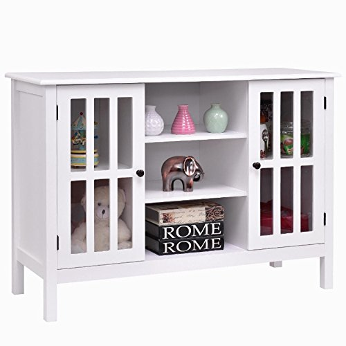 White Wooden Free Standing TV Stand Storage Cabinet Organizer Console Table Holds Up To 45'' TV Large Storage Space 2 Cupboards 3 Display Shelves Home Bedroom Living Room Stylish Furniture Décor by Auténtico (Image #3)