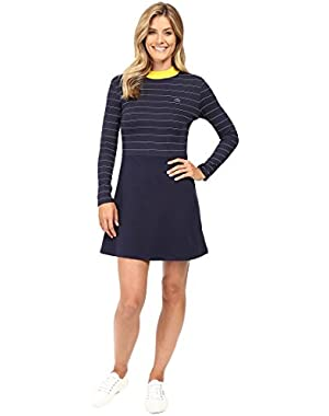 Lacoste Women's L!ve Contrast Mock Neck Striped Fit and Flare Dress
