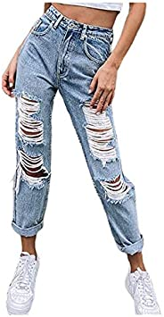 UTPO Women's Ripped Stretchy Jeans Boyfriend Baggy High Waisted Loose Fit Hole Denim Pants Straight Wide Leg J