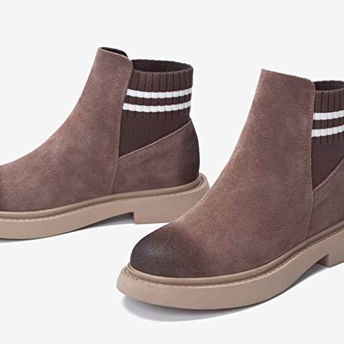 Boots Tk Short Martin Scarpe Wind Pelle In Da Calze shoe Stivaletti Grigio Donna Chelsea Retro Colore British fwfq1vgnx