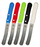 Schmear Knife 5-Piece Set - 4.5 inches - Serrated Spreading Kitchen Knife - Color Coded Kitchen Tools by The Kosher Cook