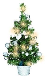 Künstlicher Tannenbaum Weihnachtsbaum 45cm mit LED Lichterkette Beleuchtung und Baumschmuck Weihnachtskugeln 20 Lichter Baum