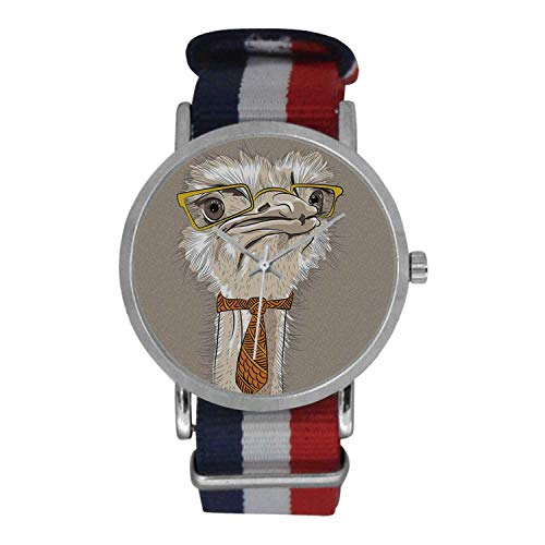 Indie Simple Nylon Strap Watch,Sketch Portrait of Funny Modern Ostrich Bird with Yellow Eyeglasses and Tie for Men,Case Diameter: ()