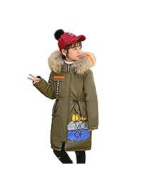 Girls Long Down Jackets Fur Hooded Winter Warm Puffer Coats Reversible